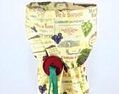 Wine bag, Wine themed wine gift bag, fabric wine bag, bottle wrap, fabric tote, bottle bag