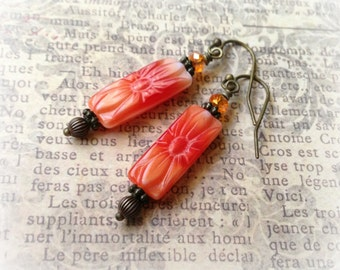 Coral Flower Rectangle Earrings - Glass & Brass Dangle Earrings