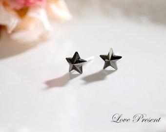 Supreme Swarovski Crystal Stud Super Star Earrings - Color Black or Jet Hematite - Hypoallergenic or Metal post - Choose your Post and Color