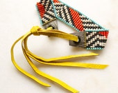 Loom Beaded Bracelet Beadwoven with Adjustable Leather Ties