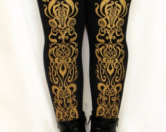 S M Art Nouveau Printed Tights Small Medium Gold on Black 120 Denier Thick Women Print Metallic Statement Tights Winter