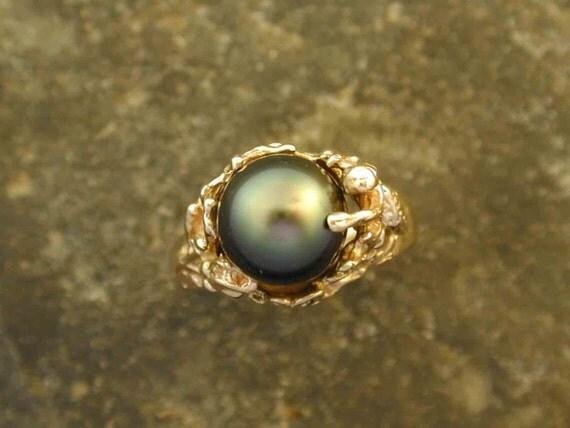 Handmade 14K Gold Tahitian Pearl Ring