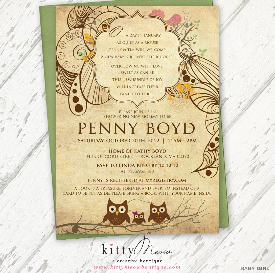 Vintage Owl Baby Shower Invitations: Green & Cream And Brown Rustic Vintage Family Owls Baby