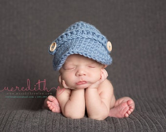 The Oliver Newsboy Cap/Visor Beanie/Baby Newsboy Hat in Stonewash Available in Newborn to 4 Years Size- MADE TO ORDER