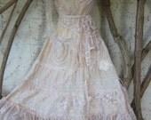 "vintage inspired cotton shabby chic dress..medium to 40"" chest..."
