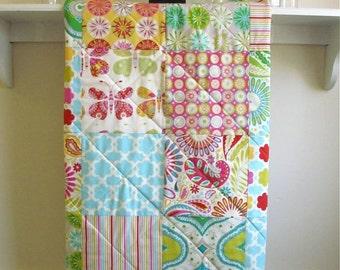 Baby Quilt Girl - Kumari Garden - Minky Back, Floral Baby Girl Quilt, Crib Bedding, Pink, Blue, Ivory, Green, Red, Yellow, Handmade, Bedding