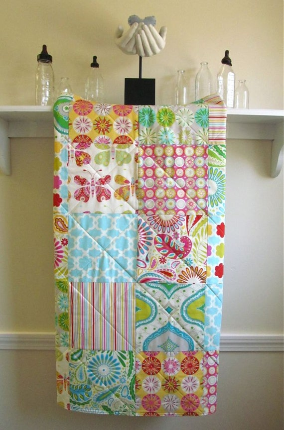 Baby Quilt Girl - Kumari Garden - Minky Back, Baby Girl Quilt, Crib Bedding, Pink, Blue, Ivory, Green, Red, Yellow, Handmade, Baby Bedding