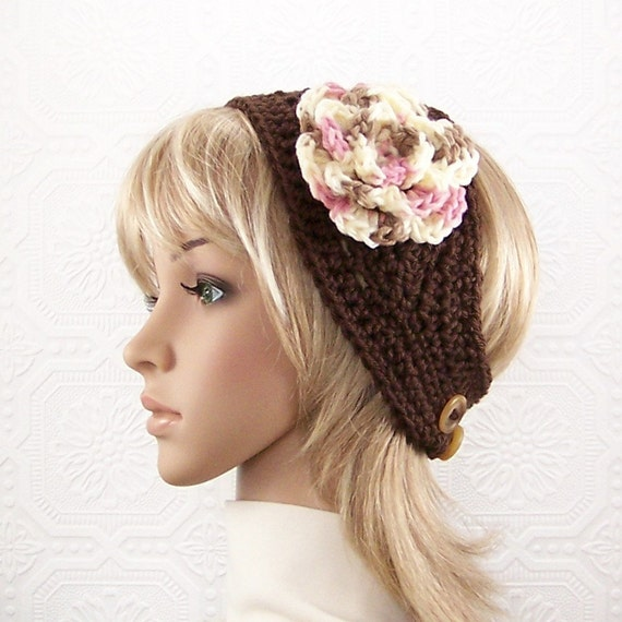 Crochet headband, boho head wrap, earwarmer - brown - Women's Teen Winter Accessories gift for her Sandy Coastal Designs - made to order