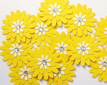 12 Bright Yellow Daisy Flower punch die cut scrapbook embellishments - No986