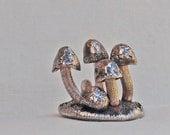 Mushroom Sculpture Miniature in Fine Silver OOAK Handmade