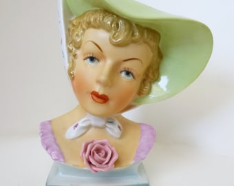 REDUCED 1950's Uoagco Lady Head Vase
