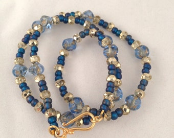 Starry Nights Necklace with Vintage Blue Glass square beads & czech gold crystal - 24kt vermeil clasp -cobalt and gilt