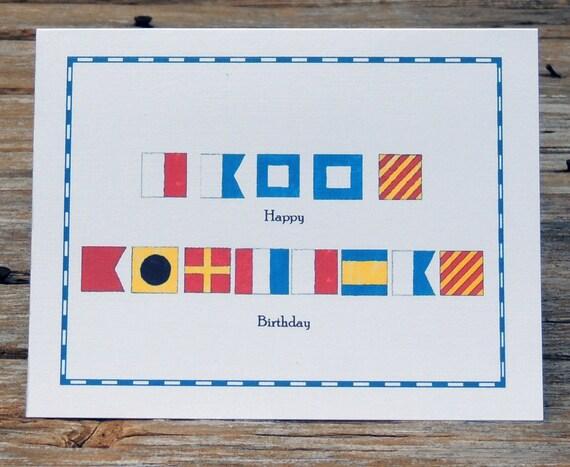 Nautical Flag Marine Alphabet Code Happy Birthday Card set of