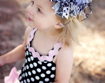 Black and White Damask and Polka Dots Over the Top Boutique Hair Bow Headband
