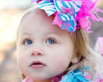 Cotton Candy Over the Top Boutique Hair Bow - With free matching crochet headband upon request