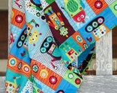 """Minky Baby Blanket Robot Boy Robots Orange Blue Green - 30""""x42"""" - Name Included - Nuts and Bolts"""