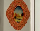 Orange Red and Green Beaded Moroccan Wall Mirror - Free Shipping
