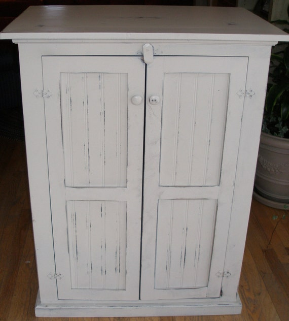 TV Cabinet Media Console White Shabby Cottage By