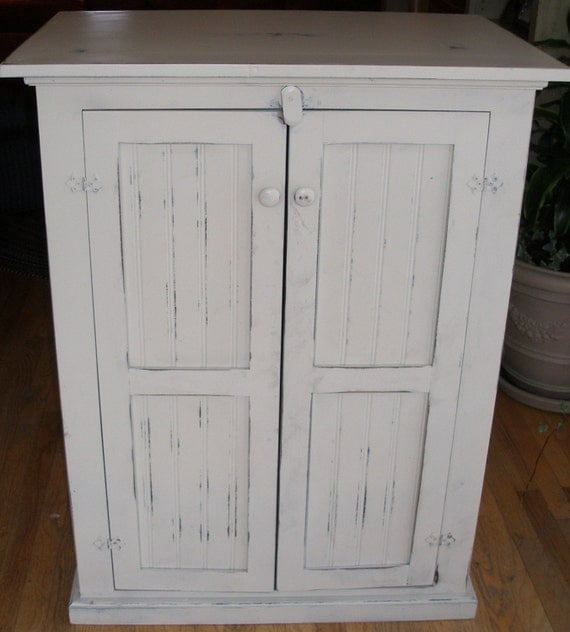 Distressing Kitchen Cabinets: Cabinet Storage Antique White Distressed By RusticFurnishings