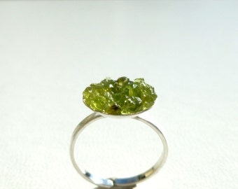Peridot Ring - Natural Crystal Bubble Druzy Ring in Recycled Sterling Silver - Green Peridot Druzy Ring