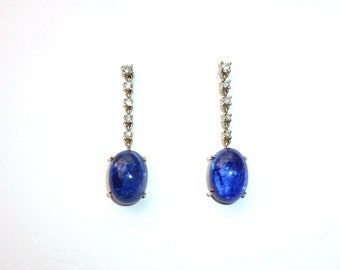 Tanzanite Oval Cab 14K White Gold  Diamond Earrings  25 Carats