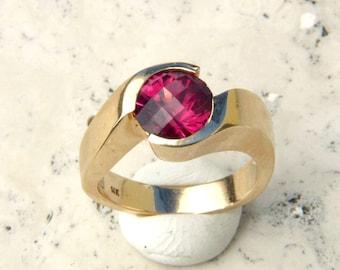 Garnet Ring - Natural Umbalite Rhodolite Red Garnet  14 K Yellow Gold Untreated Statement Ring in 14K Gold
