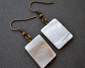 White Mother of Pearl Rectangles . Earrings . Antiqued Brass