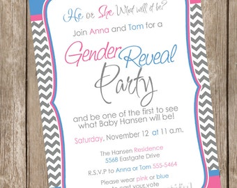 Pink and Blue Chevron Gender Reveal Invitation Baby Reveal Invite printable invitation