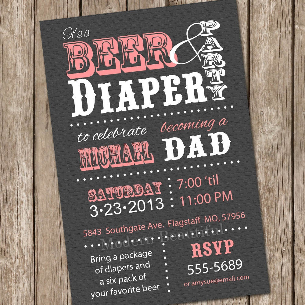 beer and diaper baby shower invitation grey and pink beer and, Party invitations