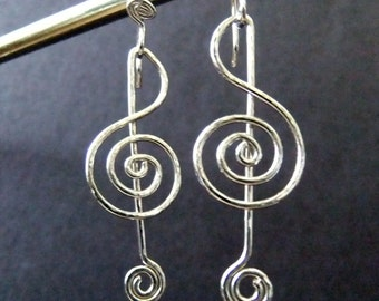 G Clef Music Note Fashion Earrings Sterling Silver Music Lover Fun Whimsical Beautiful Love For Music Unique Jewelry For A Musician Earring