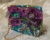 Colorful Dance Purse, Bright Retro Party Clutch, Fiesta Couture Evening Bag, Cross front chain dancing purse. RESERVED