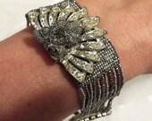 Silver Rhinestone Bracelet, Silver beaded mesh cuff, Victorian Noir Bridal Bracelet