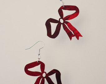 Red Purple Tie-Dye Bows - Natural Wood Earrings