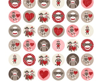 Sock Monkey bottle cap images, bottlecap images, one inch circles - royalty-free, digital collage sheet- Instant Download
