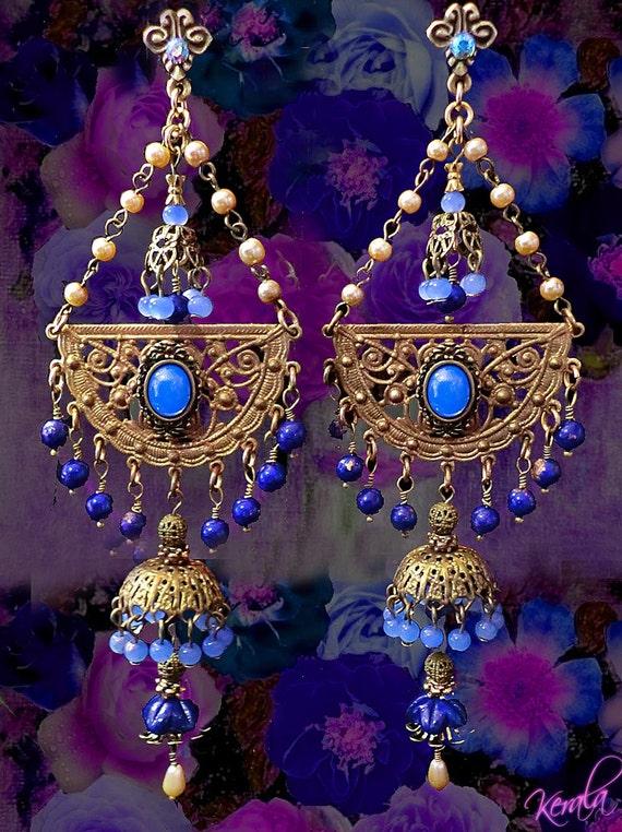 6 Inch Long Exotic Periwinkle Blue Jhumka Earrings East