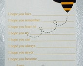 Bumblebee Advice Card, PRINTABLE Wishes and Advice Card