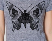 Womens butterfly skull shirt-Bella athletic gray- available in S, M, L , XL WorldWide Shipping