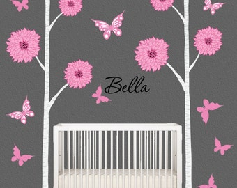 Birch Tree Wall Decal Nursery Decor Pink Grey Children