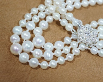 Knotted Ivory Pearl  Necklace, Wedding, Bridesmaid, Freshwater Pearls, Multi Strand Necklace