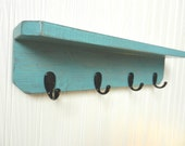 Wooden Wall Shelf with 4 Hooks, Shabby Chic / French Country, in TEAL