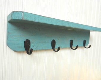 Distressed Hanging Shelf with Hooks, Shabby Chic Decor, French Country Shelf, Country Cottage, Primitive Decor, Primitive Jewelry Holder