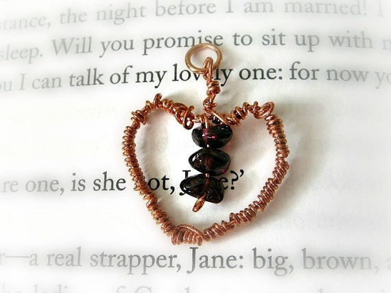 DONATION to Feeding America Hearted Wire Wrapped Garnet + Copper Heart Pendant / Mothers Day Organic Deep Merlot Red, January Birthstone