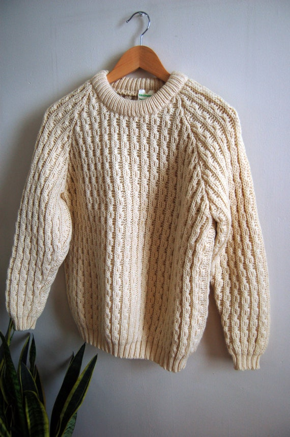 Vintage Irish Wool Crewneck Sweater - Chunky Knit