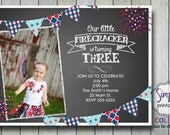 Fourth of July Birthday Invitation with Photo