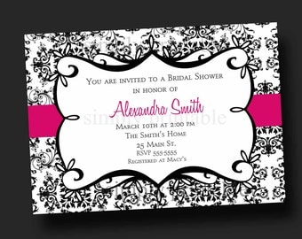 Damask Bridal Shower Invitation Black & White (Printable Digital File)