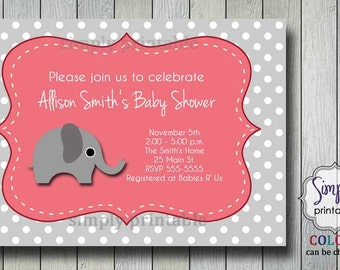 Baby Shower Invitation Girl Pink & Gray