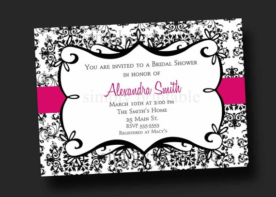 Damask Bridal Shower Invitation Black & White (Printable Digital File)