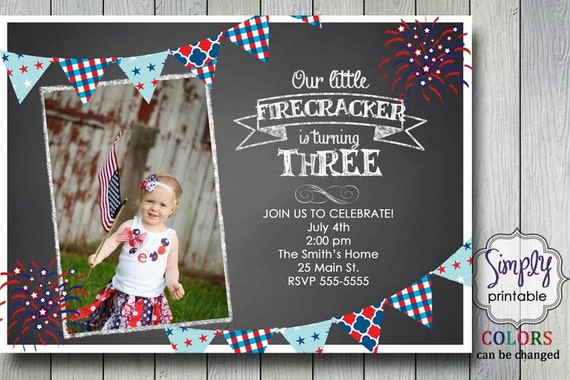 4th of July Birthday Invitation, Chalkboard, Our little Firecracker Invite, Red White and Blue