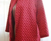 Quilted Bed Jacket in Stunning Raspberry, by Barbizon, Size Medium