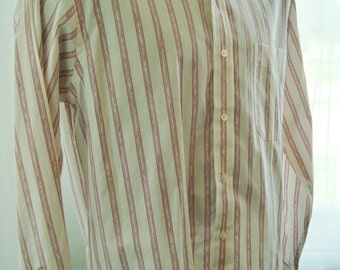 Vintage 1980's Yves Saint Laurent Striped Dress Shirt, Burgundy and Mauve, Size Small